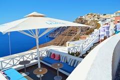 Het mooie van het overzeese eiland Griekenland van Santorini meningsterras Stock Foto's