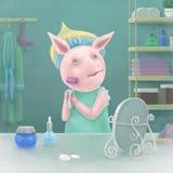 Het mooie varken gebruikt mesoroner Stock Foto