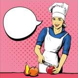 Het mooie vrouw koken Vectorillustratie in retro pop-artstijl Vrouwelijke chef-kok in eenvormig Restaurantconcept Stock Afbeelding