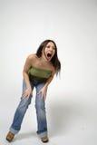 Het mooie vrouw lachen Stock Foto