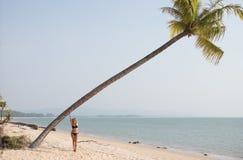 Het mooie vrouw ontspannen op de palm stock foto's
