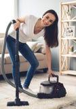 Het mooie vrouw schoonmaken Stock Fotografie
