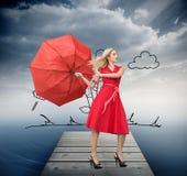 Het mooie vrouw stellen met een gebroken paraplu vector illustratie