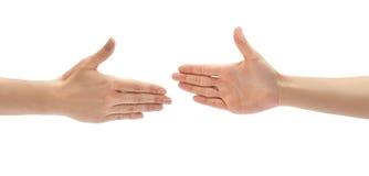 Het mooie vrouwelijke gebaar van de handgroet Geïsoleerdj op witte achtergrond royalty-vrije stock foto's