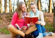 Het mooie vrouwen lezen Stock Fotografie