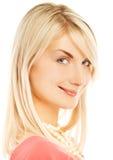 Het mooie vrouwengezicht glimlachen Royalty-vrije Stock Foto's