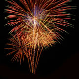 Het mooie vuurwerk viert binnen dag isoleert op zwarte achtergrond Royalty-vrije Stock Foto's