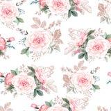 Het mooie waterverfpatroon met pioen en nam bloemen toe Patroon met Royalty-vrije Stock Foto