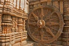 Het mooie Wiel van de blokkenwagen, de Tempel van de Zon Konark, Orissa Royalty-vrije Stock Foto's