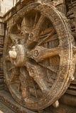 Het mooie Wiel van de blokkenwagen, de Tempel van de Zon Konark, Orissa Stock Fotografie