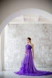 Het mooie zwangere vrouw stellen in purpere kleding in Studio Royalty-vrije Stock Afbeeldingen