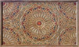 Het Moorse schilderen op houten plafond Stock Afbeelding