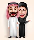 Het moslim Arabische jonge man en vrouwenpaar vectorkarakters traditioneel dragen Stock Afbeelding