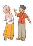 Het moslim Aziatische jonge geitjes palying Royalty-vrije Stock Afbeelding