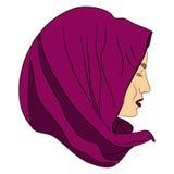 Het moslimmeisje kleedde zich in gekleurd hijab Royalty-vrije Stock Afbeeldingen