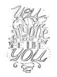 Het motiveren van van letters voorziende illustratie over zelfvertrouwen en uw plaats in het leven Zwart-wit, getrokken perfectio Stock Afbeelding