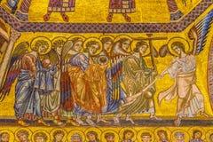 Het Mozaïekkoepel Bapistry Heilige John Florence Italy van de engelenbijbel stock afbeeldingen