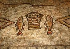 Het mozaïek van de vermenigvuldiging, Tabgha, Israël Stock Afbeeldingen