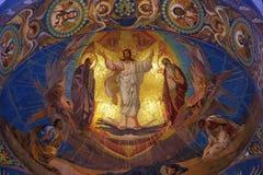Het mozaïek van Jesus-Christus in orthodoxe tempel, Petersburg Stock Foto's