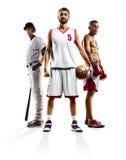Het multi het basketbalhonkbal van de sportcollage in dozen doen stock foto's