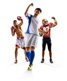 Het multi het voetbal Amerikaanse voetbal van de sportcollage in dozen doen Royalty-vrije Stock Foto's
