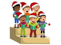 Het multiculturele van de hoeden zingende Kerstmis van jonge geitjeskerstmis geïsoleerde stootbord van het de hymnekoor Royalty-vrije Stock Afbeelding