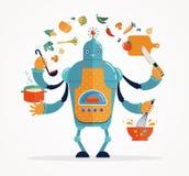 Het Multitasking robotchef-kok baksel en koken stock illustratie