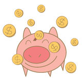 Het muntstuk die van het geld op varkensspaarpot vallen Stock Foto