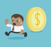 Het muntstuk rolt kan verpletterde hem, het Afrikaanse Zakenman lopen stock illustratie