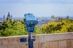 Het muntstuk stelde openbare telescoop in Boedapest in werking stock foto's