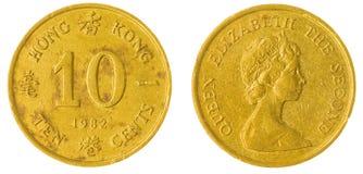 het muntstuk van 10 centen 1982 dat op witte achtergrond, Hong Kong wordt geïsoleerd Royalty-vrije Stock Afbeeldingen