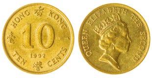 het muntstuk van 10 centen 1992 dat op witte achtergrond, Hong Kong wordt geïsoleerd Stock Foto's