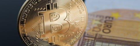 Het muntstuk van crypto munt bitcoin stock fotografie
