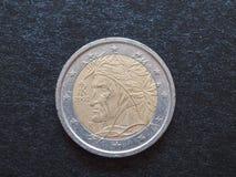 Het muntstuk van Dante Alighieri EUR Stock Foto