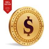 Het muntstuk van de dollar 3D isometrisch Fysiek gouden die muntstuk met Dollarsymbool op witte achtergrond wordt geïsoleerd Amer Stock Foto