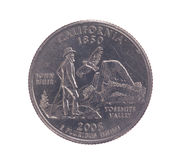 Het muntstuk van de het kwartdollar van Verenigde Staten Californië Stock Fotografie