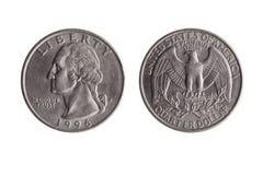 Het muntstuk van de het kwartdollar van de V.S. stock foto
