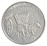 het muntstuk van 25 de pesocentavos van de Dominicaanse republiek Stock Fotografie