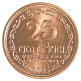 25 het muntstuk van de Roepiecenten van Sri Lankan Stock Afbeeldingen