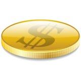 Het muntstuk van het dollarsgeld in perspectiefvector Stock Fotografie