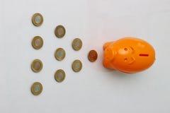 Het muntstuk van het spaarvarken en van tien Roepie van India Stock Fotografie