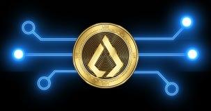 Het muntstuk van Lisklsk cryptocurrency met gloeiend blockchain transactieschema stock video