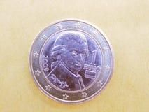 Het muntstuk van Mozart Stock Foto