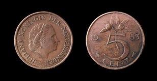 Het muntstuk van Nederland van 1953 Royalty-vrije Stock Fotografie