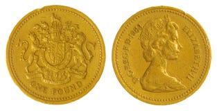 het muntstuk van 1 pond 1983 dat op witte achtergrond, Groot-Brittannië wordt geïsoleerd Stock Afbeelding