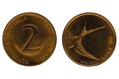 Het muntstuk van republikaslovenija van Dvatolarja op een witte achtergrond Stock Foto's
