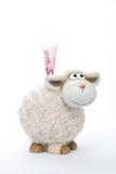 Het muntstukbank van schapen met euro Stock Foto