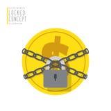 Het muntstukgeld is verbindend en gesloten met kettingen met een hangslotvlakte Stock Fotografie