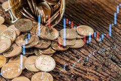 Het muntstukplons van het dollarsgeld uit de mand Stock Foto's