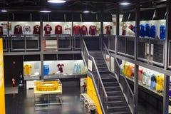 Het museum is beroemd voor spelers van voetbalclubs de Intermilaan en T-shirts van Milaan bij het stadion van San Siro royalty-vrije stock foto's